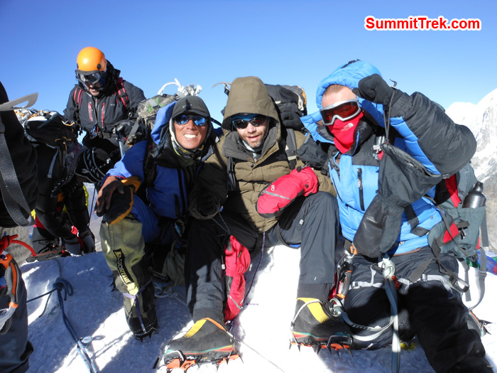 Team Member and Sherpa summit of Island Peak. Photo Tenji Sherpa