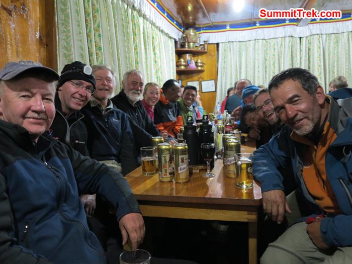 Team enjoying last night at  Lukla. Photo Matthew Slater.