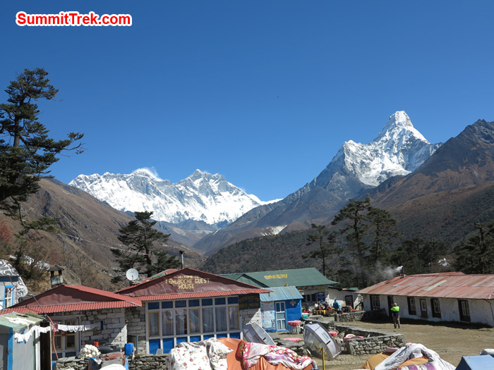Gorgeous day in Tangboche with view of Mount Everest, Lhotse, AmaDablam. Photo Mathew Slater