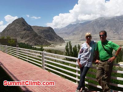 k2 news, Deb and John at Concordia Motel Skardu, above Indus River.