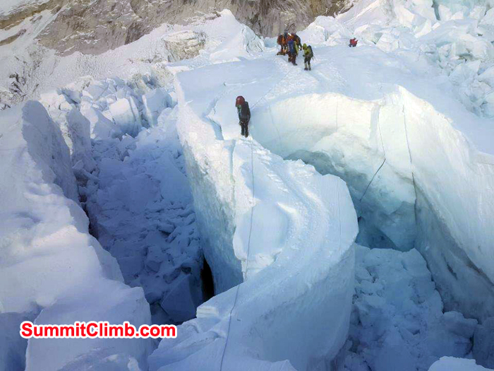 Climbers inside khumbu Ice fall