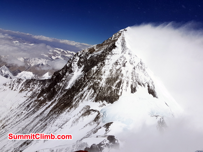 High wind hitting at Mount Everest seen from Lhotse Summit