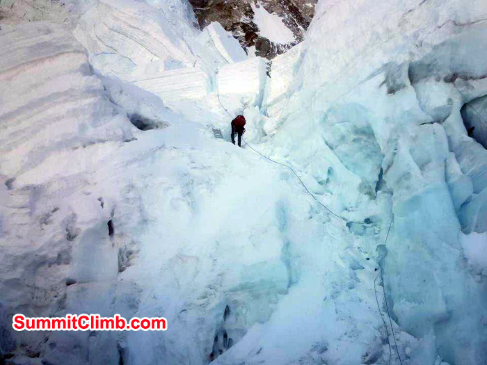 Khumbu Ice fall and climber on there