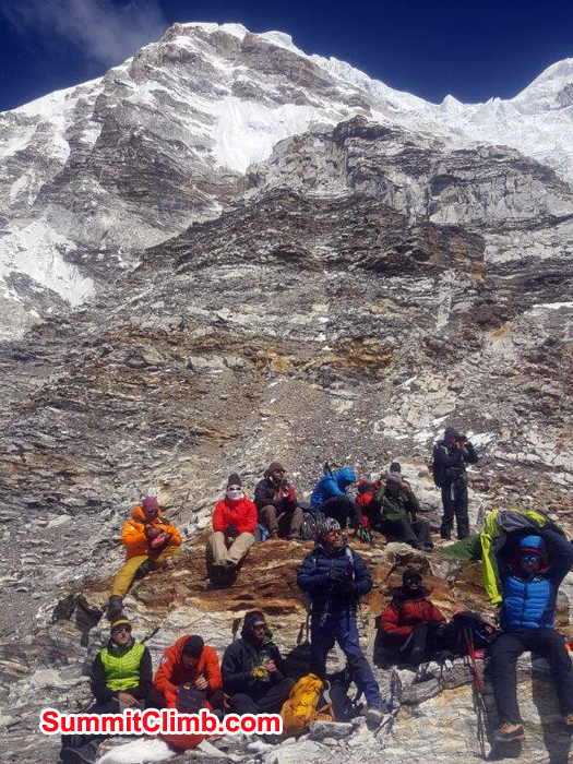 Members at Everest basecamp taking rest