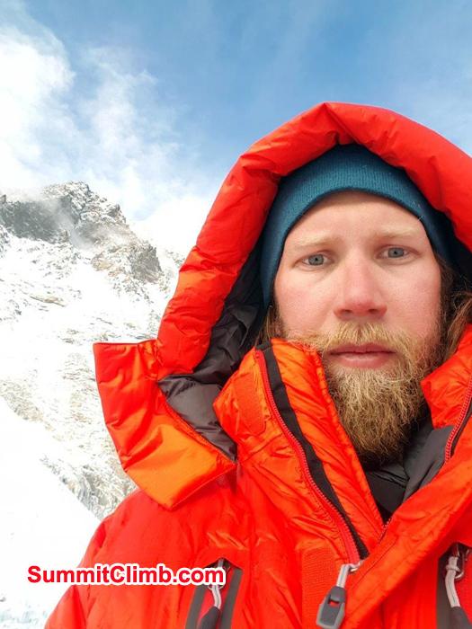 Posing at mountain