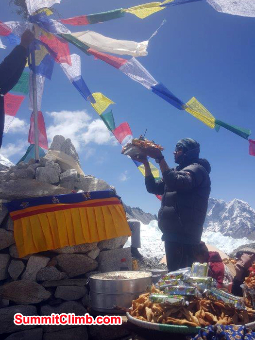 Puja ceromony at basecamp before climbing lhotse