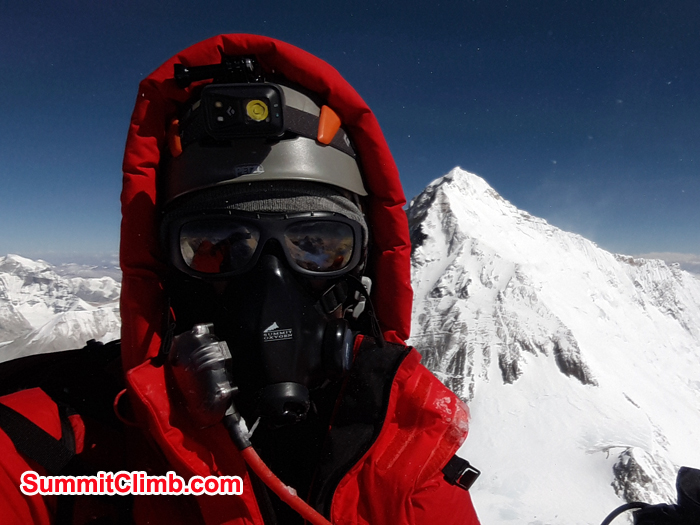 Stef Wolf Wolput at the summit of lhotse