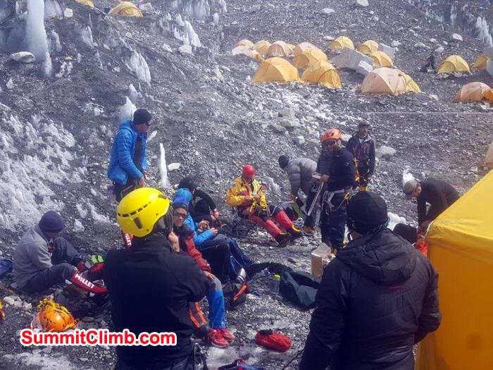 Team checking their personal equipment before climbing lhotse