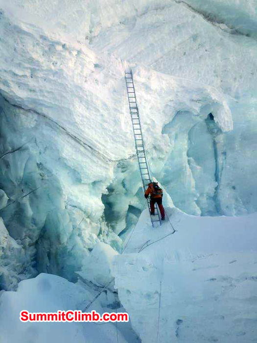 Vertical lader at Khumbu Icefall
