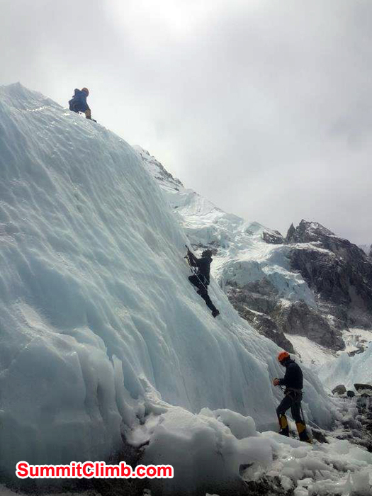 team practicing near ice wall in Everest Basecamp