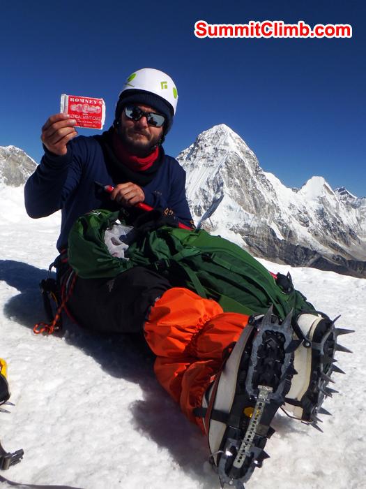 Andy summit of lobuche. Photo Warwick Van Aardt