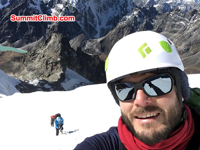 Andy taking selfee behind Warwick during lobuche peak climb. Photo Andrew Turvey