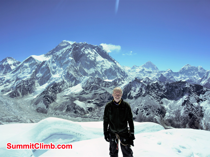 Anthony James Dent is on the summit of lobuche