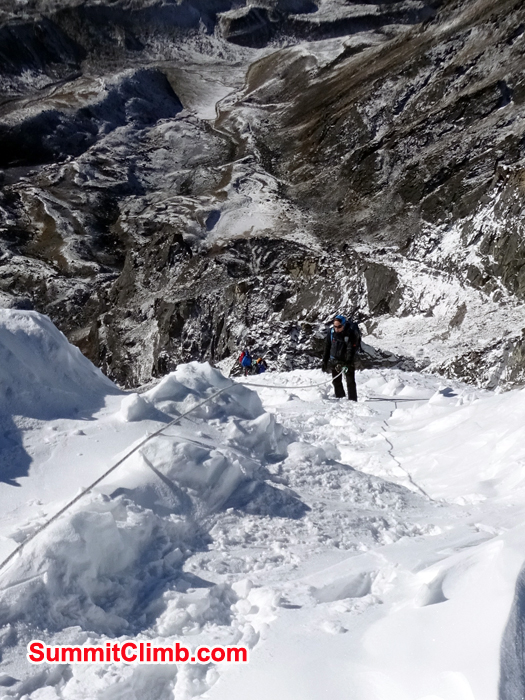 Climbing up in lobuche peak