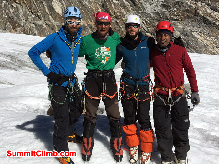 Everest Glacier Team ready with climbing equipment in Cho La. Photo Andrew Turvey.