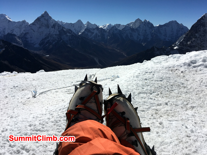 From the lobuche peak. Andy and warwick on the summit of Lobuche. Photo Andrew Turvey
