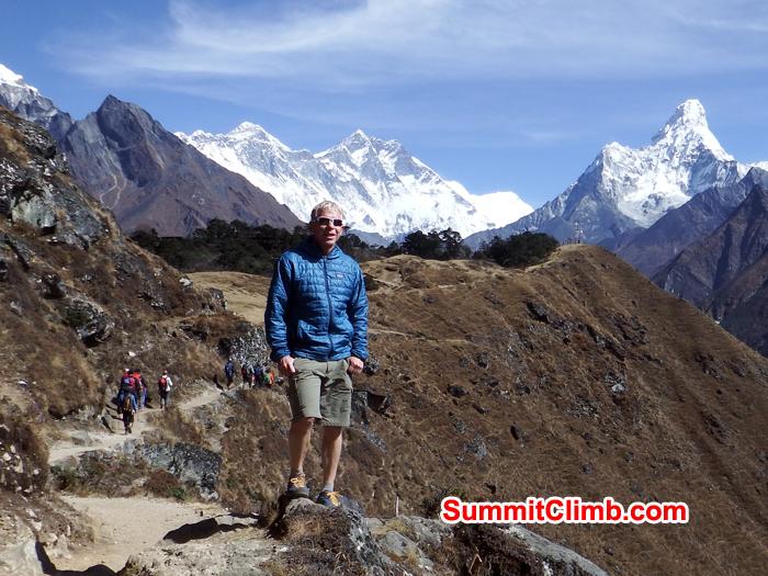 Gordon posing background view Everest, Lhotse and AmaDablam. Photo Warwick Van Aardt