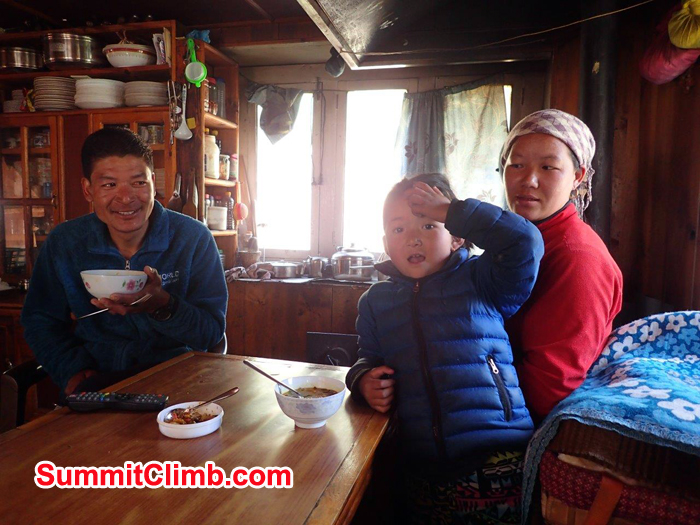 Lakpa Nuru and his family at tea house