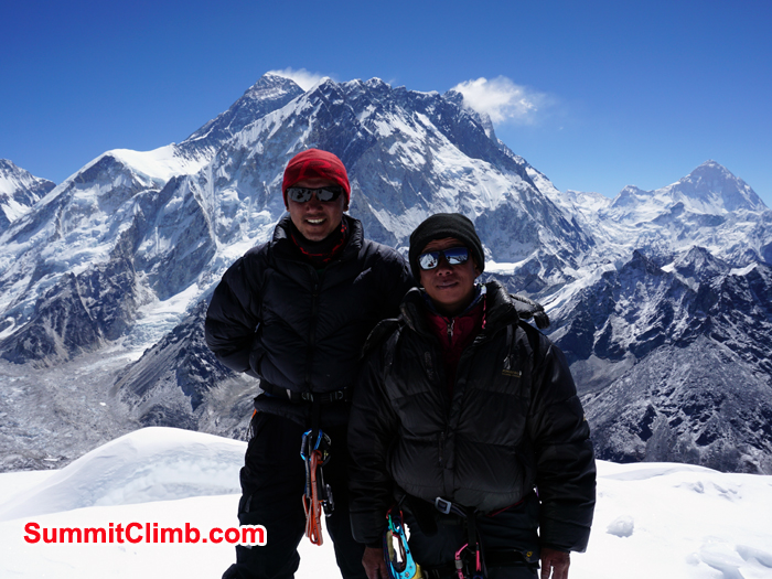 Thile and ram bahadhur at the summit of lobuche