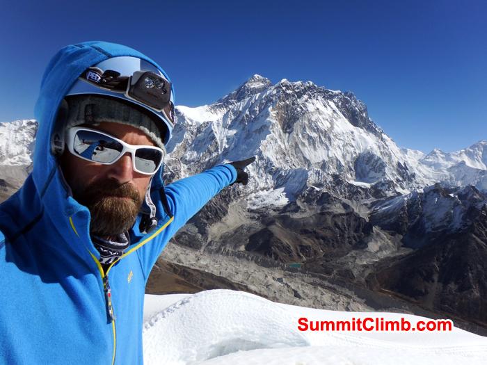 Warwick pointing at The Everest. Photo Warwick Van Aardt