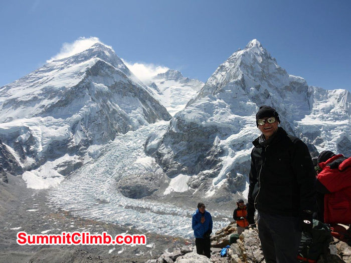 Members enjoying view of Everest, Lhotse from Pumori ABC. Photo David Maidment