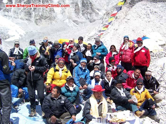 Sherpa and Member at Everest Base Camp. Photo Ken