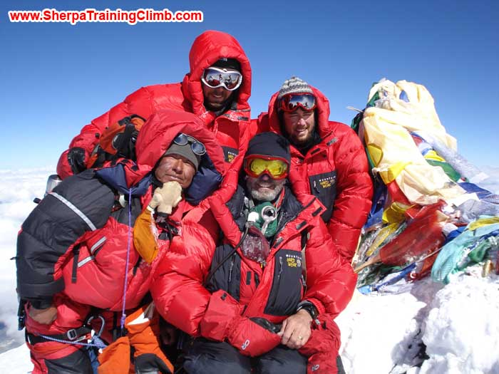 Sange Sherpa and members on the summit of Everest. Photo Sange