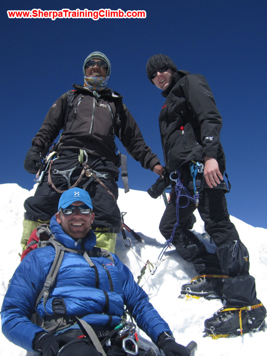 Sjoerd Wever, Shera Sherpa, and Sean McLane on the summit of Lobuche during the Everest Glacier School. Photo by Sjoerd Wever