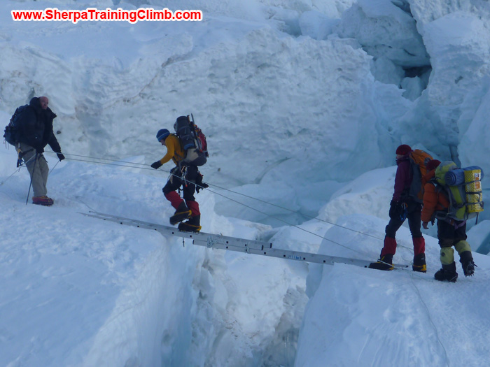 Sherpas helping a member to cross the Khumbu Ice fall. Photo Stew.