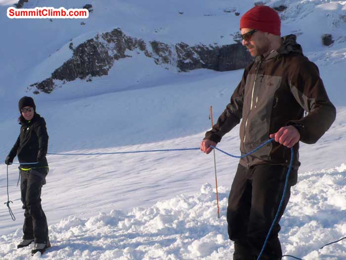 Every mountaineer's challenge - Jaime Herriot and Ari Karchin practice 'flaking' the rope