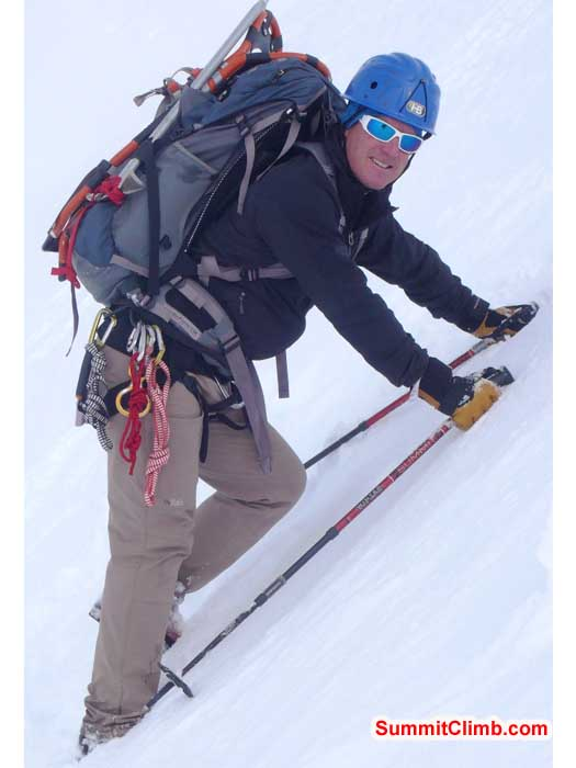 Ridlon Kiphart shows proper downclimbing technique on steep snow slopes