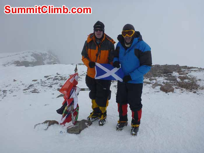 James Shipton (left) and Allan Taggard on the Summit of Aconcagua - Photo: Angel Armesto
