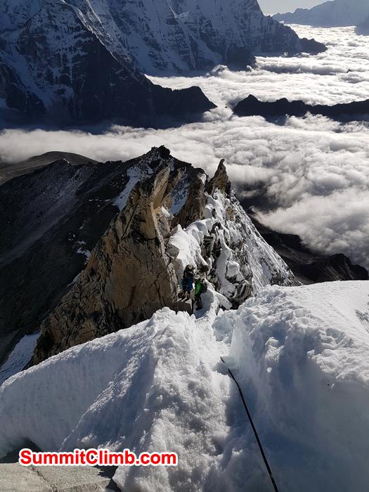Climber together at camp 2 Amadablam. Photo Carmen Larraz