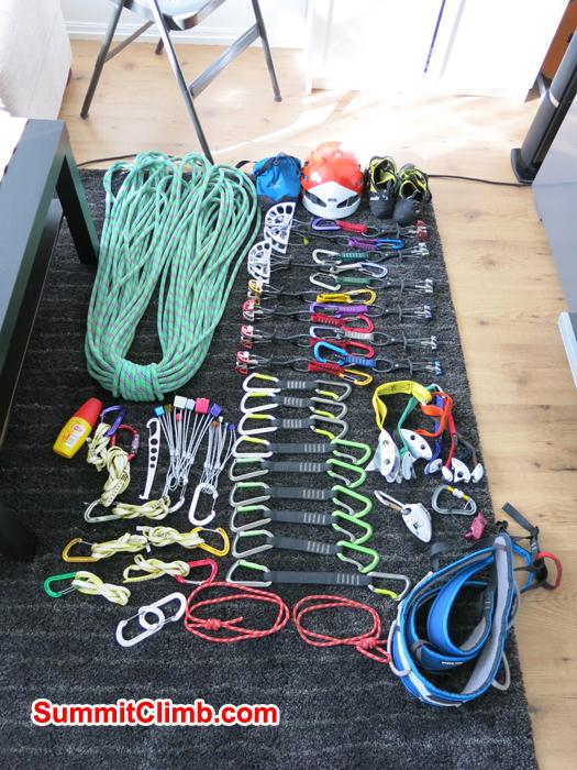 Climbing Equipment for climbing AmaDablam. Photo Martin Seljeset