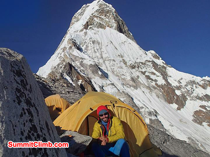 Don at camp 1 in Tent background Amadablam summit view