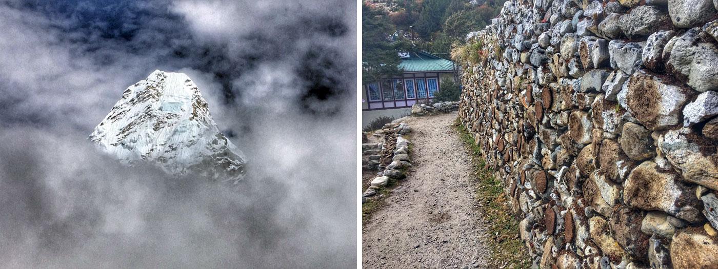 Ama Dablam behind cloud. Highway of Khumbu. Photo Martin.