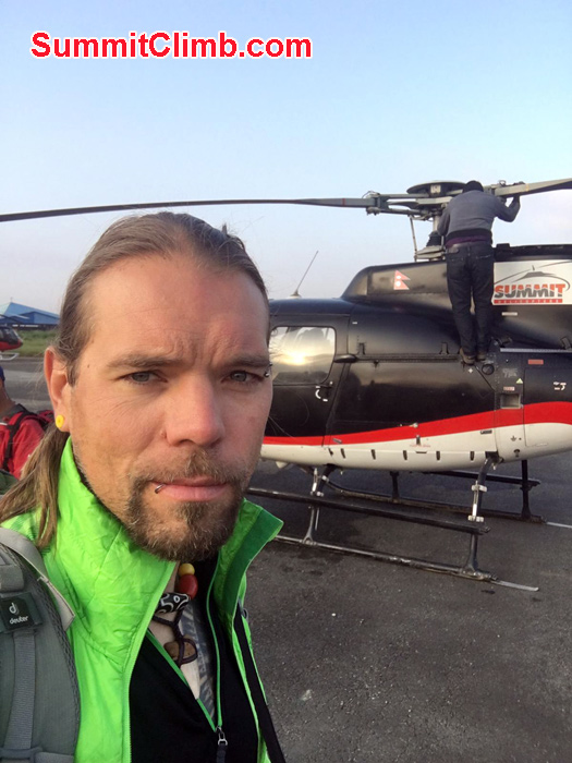 Martin ready for heli ride
