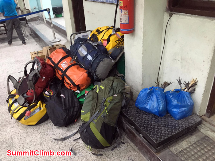 Our duffle bags ready to transfer