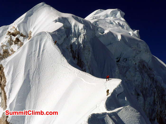 A view of the Baruntse summit ridge heading up towards the summit cone at 6950 metres23,000 feet
