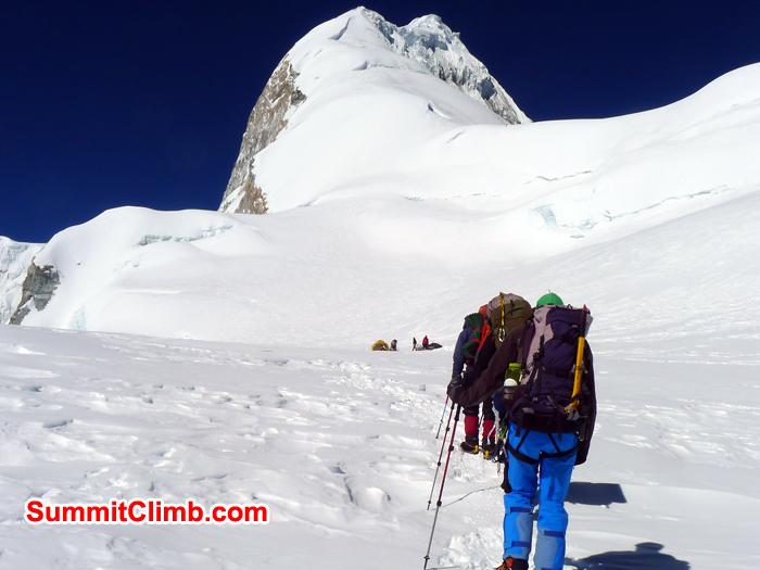 Baruntse Team member reaching camp 2 before summit.