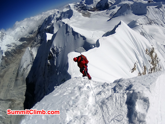Belay down from Summit of Baruntse