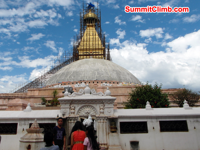 Boudhanath Stupa in reconstruction after Nepal Earth Quake