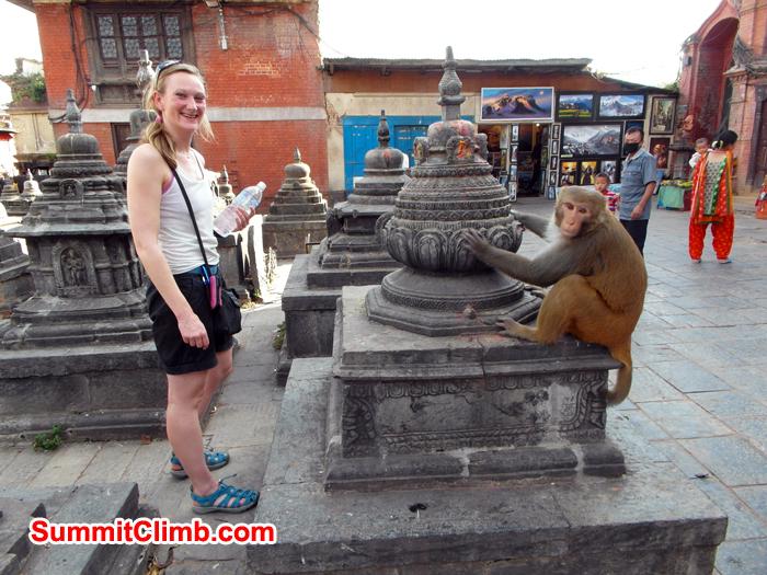 Caroline Wergeland visiting Monkey Temple