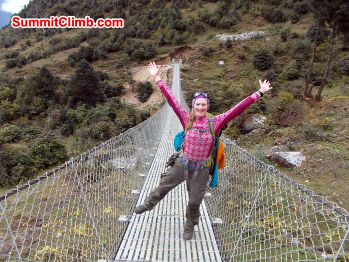 Caroline at Suspension Bridge