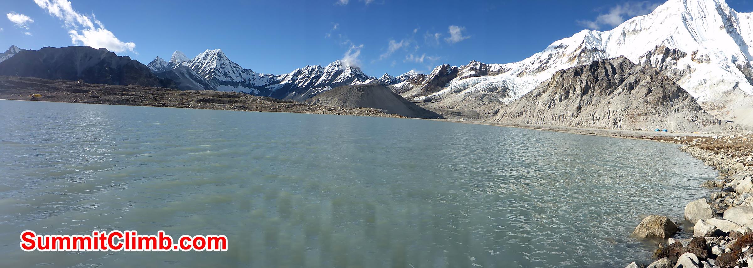 Glacier lake surround by himalayas