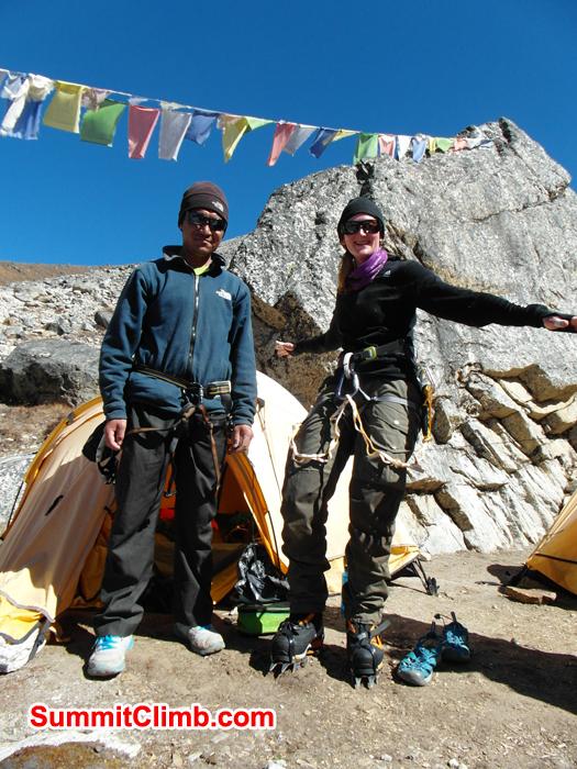 Jangbu and Caroline ready for climb.
