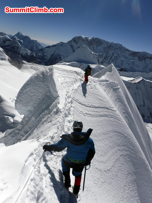 Member and Sherpa are on the summit of baruntse summit