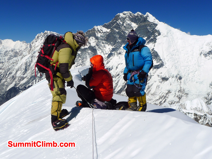 Sherpas and membems are on the summit of Baruntse. Photo Kurt Blair