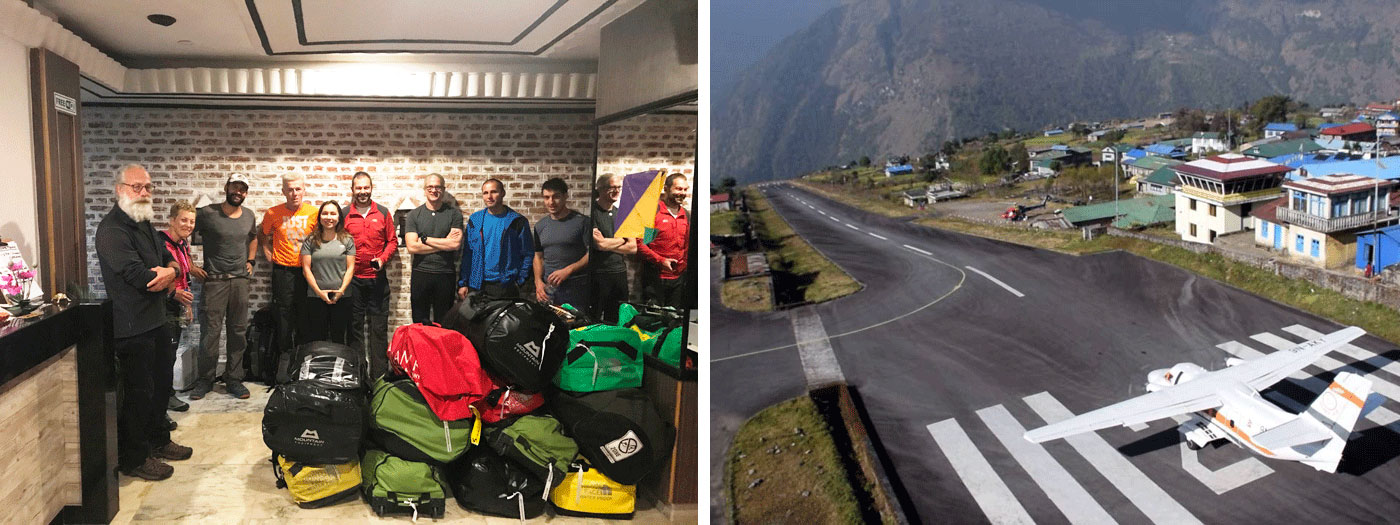 Summit Climb team for Ama Dablam and Baruntse. Lukla Airport.