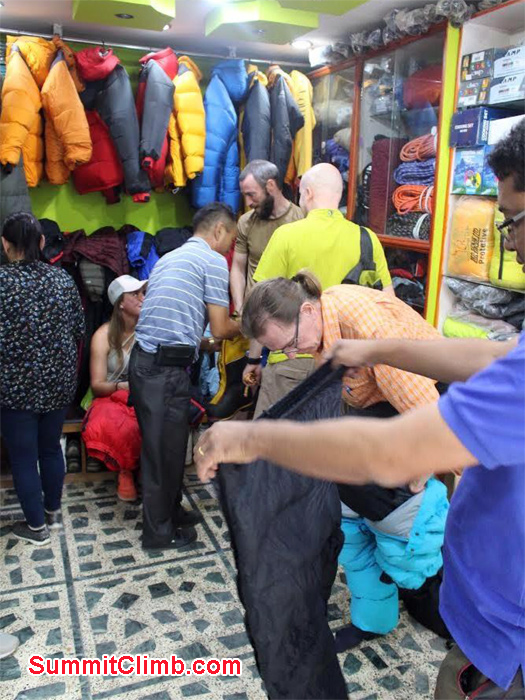 team roster of Baruntse are busy hiring and buying climbing equipment at Kathmandu trekking Shop